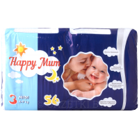 Подгузники «Happy Mum» 3, 4-9 кг, 56 шт.