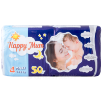 Подгузники «Happy Mum» 4, 9-18 кг, 50 шт.
