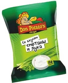 Снеки «DON POTATO'S» сметана и лук, 80 г