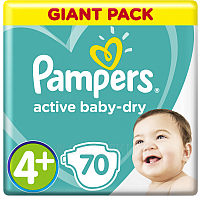 Подгузники Pampers Active Baby-Dry 4+ Maxi Plus (70шт)